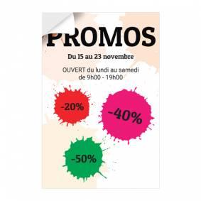 Adhésif vitrine pour Promos